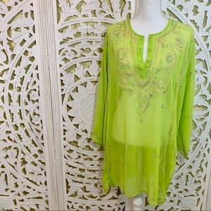 Betty B Neon Green Sheer Embroidered Tunic